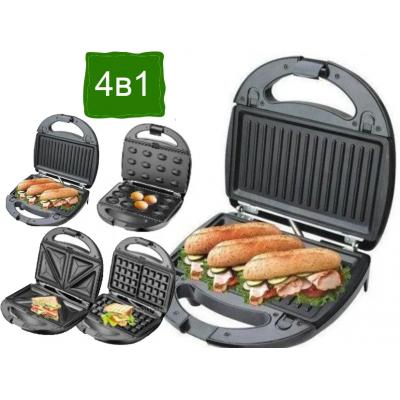 Domotec Ms 7704 4 в 1 (Гриль, бутербродница, вафельница, орешница) 1000Вт