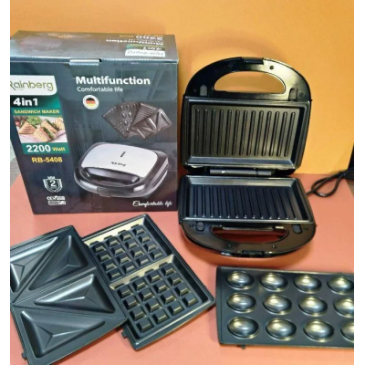 Мультимейкер Rainberg RB-5408 4в1 2200W Электрогриль, сэндвичница, вафельница, орешница