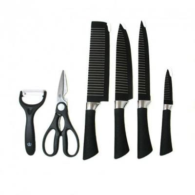 Набор кухонных ножей из стали 6 предметов Genuine King-B0011 Черный