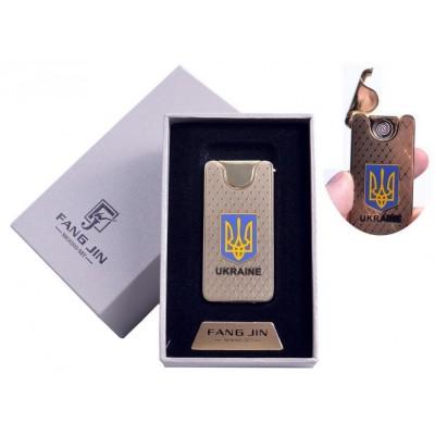USB зажигалка в подарочной упаковке Герб Украины (Двухсторонняя спираль накаливания) №4795