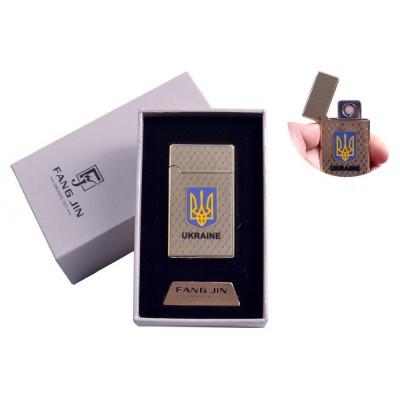 USB зажигалка в подарочной упаковке Герб Украины (Двухсторонняя спираль накаливания) №4799