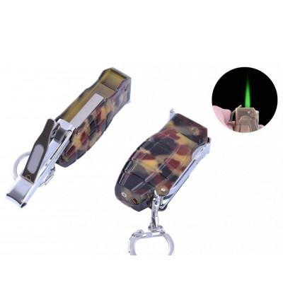 Зажигалка газовая-брелок Граната с кусачками (Турбо пламя) №4134-3