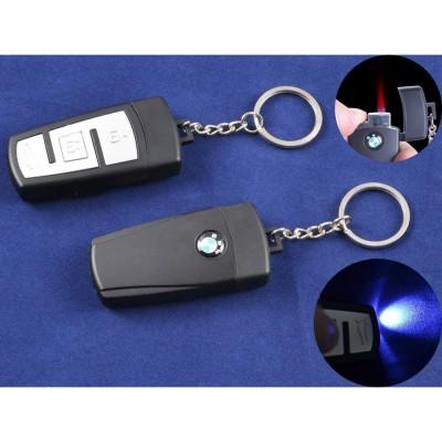 Зажигалка-брелок ключ от авто BMW (Турбо пламя, Фонарик) №4161-5