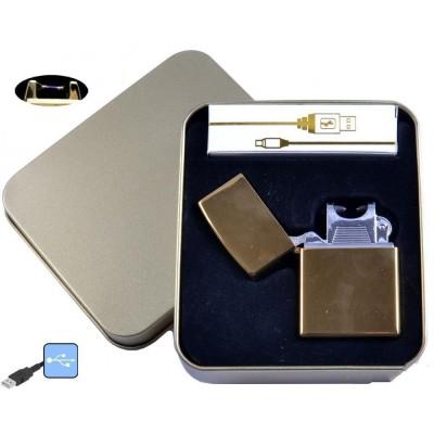 Электроимпульсная зажигалка в металлической упаковке JIN LUN (USB) №4839-1