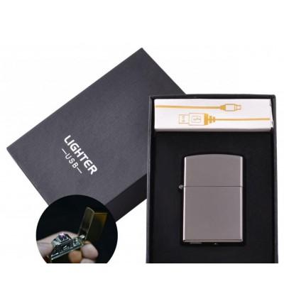 Электроимпульсная зажигалка в подарочной упаковке Lighter (Двойная молния, USB) №HL-6 Black