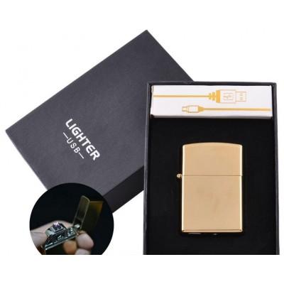 Электроимпульсная зажигалка в подарочной упаковке Lighter (Двойная молния, USB) №HL-6 Gold