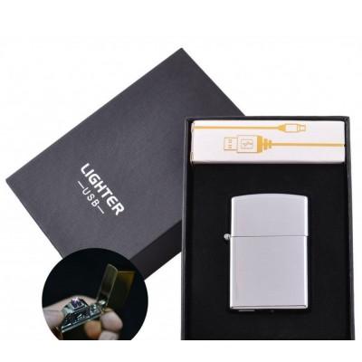Электроимпульсная зажигалка в подарочной упаковке Lighter (Двойная молния, USB) №HL-6 Silver