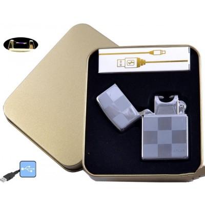 Электроимпульсная зажигалка в металлической упаковке JIN LUN (USB) №4838-5