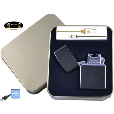Электроимпульсная зажигалка в металлической упаковке JIN LUN (USB) №4839-2