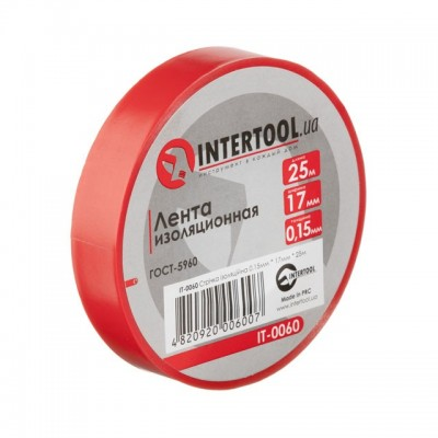 Лента изоляционная 0.15мм*17мм*25м красная INTERTOOL IT-0060