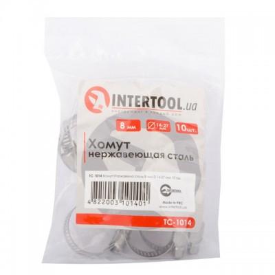 Хомут нержавеющая сталь 8 мм D 14-27 мм INTERTOOL TC-1014