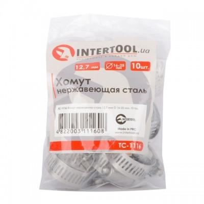 Хомут нержавеющая сталь 12,7 мм D 16-25 мм INTERTOOL TC-1116