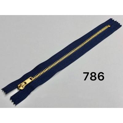 Молния Джинсовая т-4 18см Цвет Темно-синяя + золото