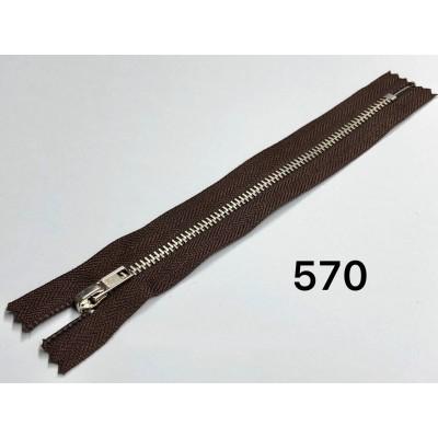 Молния Джинсовая т-4 18см Цвет Темно-коричневый + никель