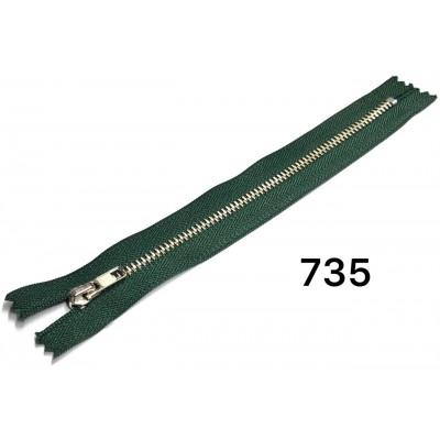 Молния Джинсовая т-4 18см Цвет Темно-зеленый + никель