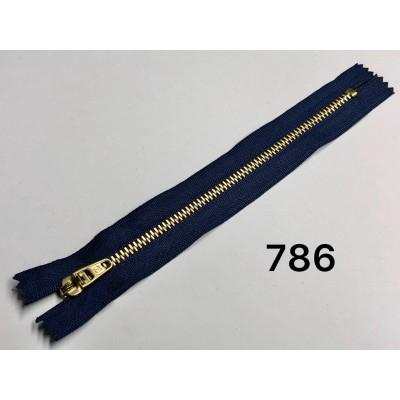 Молния Джинсовая т-4.5 18см Цвет Темно-синий + золото