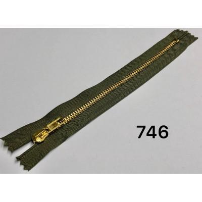 Молния Джинсовая т-5 18см Цвет Хаки + золото