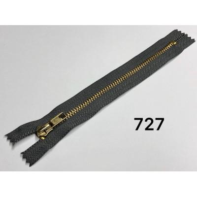Молния Джинсовая т-5 18см Цвет Темно-серый + золото