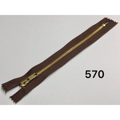 Молния Джинсовая т-5 18см Цвет Темно-коричневый + золото
