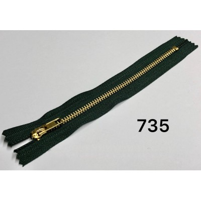 Молния Джинсовая т-5 18см Цвет Темно-зеленый + золото