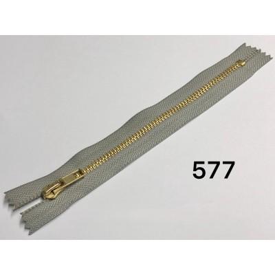 Молния Джинсовая т-5 18см Цвет Светло-серый + золото