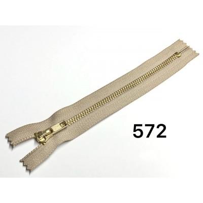 Молния Джинсовая т-5 18см Цвет Светло-бежевый + золото