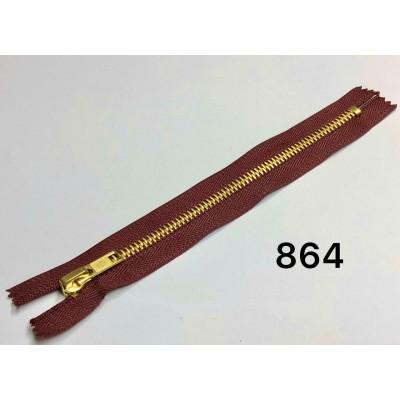 Молния Джинсовая т-5 18см Цвет Бордовый + золото
