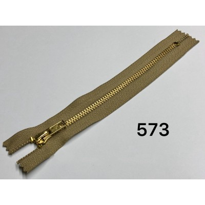 Молния Джинсовая т-5 18см Цвет Бежевый + золото