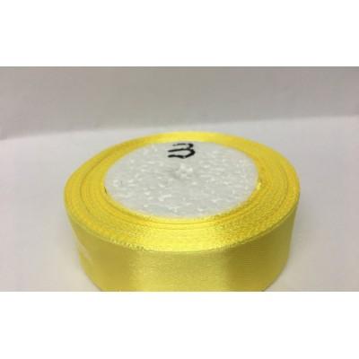 Лента атласная цвет желтый, ширина 25 мм, длина 23 м