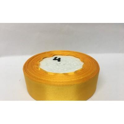 Лента атласная цвет желтый подсолнух, ширина 25 мм, длина 23 м