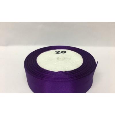 Лента атласная цвет фиолетовый, ширина 25 мм, длина 23 м