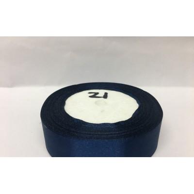 Лента атласная цвет темно-синий, ширина 25 мм, длина 23 м