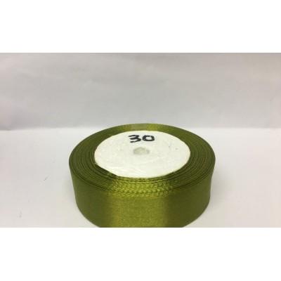 Лента атласная цвет оливковый, ширина 25 мм, длина 23 м