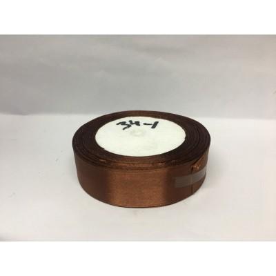 Лента атласная цвет коричневый, ширина 25 мм, длина 23 м