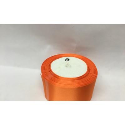 Лента атласная цвет - оранжевый, ширина 50 мм, длина 23 м