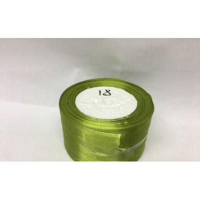 Лента атласная цвет - оливковый, ширина 50 мм, длина 23 м