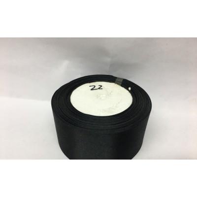 Лента атласная цвет - черный, ширина 50 мм, длина 23 м