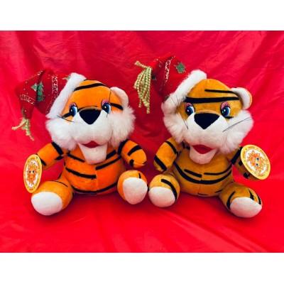 Мягкая игрушка Тигр колпачок 18см музыкальный
