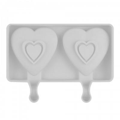 Форма силиконовая для мороженого из 2-х шт Сердце гладкое
