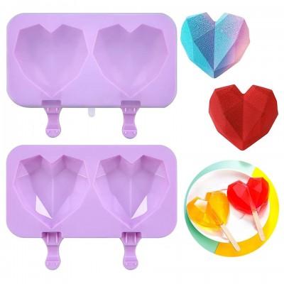 Форма силиконовая для мороженого из 2-х шт Сердце граненое с крышкой без палочек