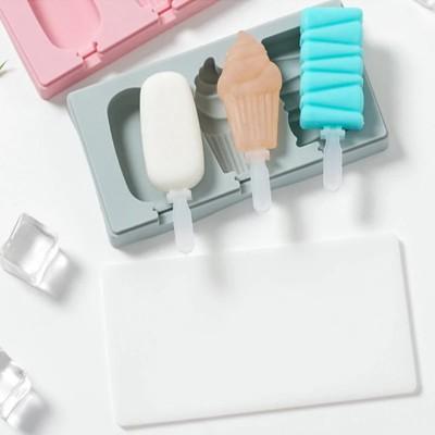 Форма силиконовая для мороженого с крышечкой Кекс Микс из 3-х шт на планшете с палочками