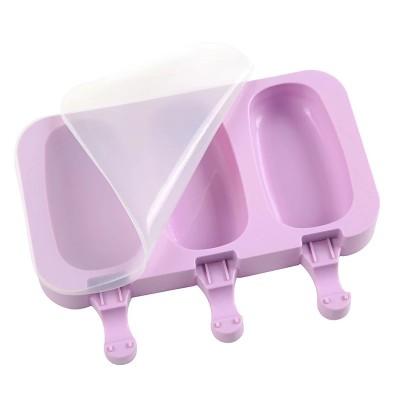 Форма силиконовая для мороженого с крышкой Эскимо 3 шт на планшете