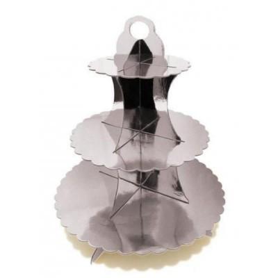 Подставка трёхярусная для капкейков (серебро)