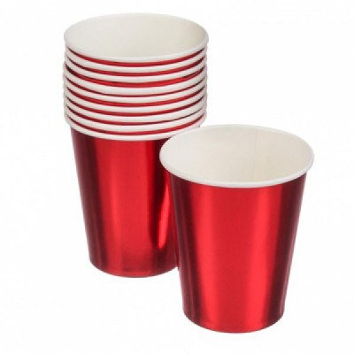Бумажные стаканы металик красные (уп.10шт.)