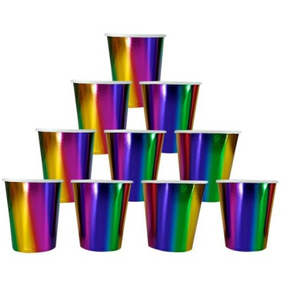 Бумажные стаканы металик радужные (уп.10шт.)