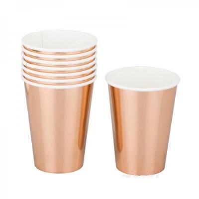 Бумажные стаканы металик розовое золото (уп.10шт.)