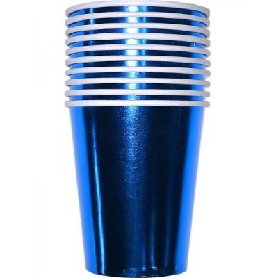 Бумажные стаканы металик синие (уп.10шт.)