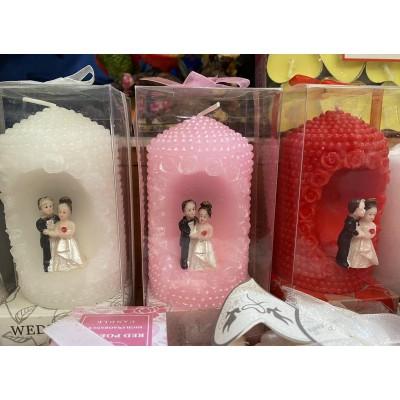 Свеча свадебная 10 см, белая, розовая, красная