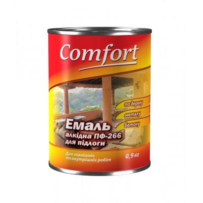 Алкидная эмаль краска для пола Comfort ПФ 266 красно-коричневая 0,9 кг