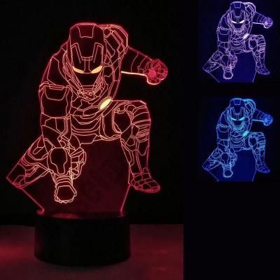 Светильник 3D Железный человек, цвета в ассортименте